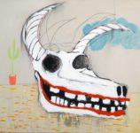 "Buffalo Skull #1 crayon, pencil, acrylic, on canvas 38"" x 38"" 2016"